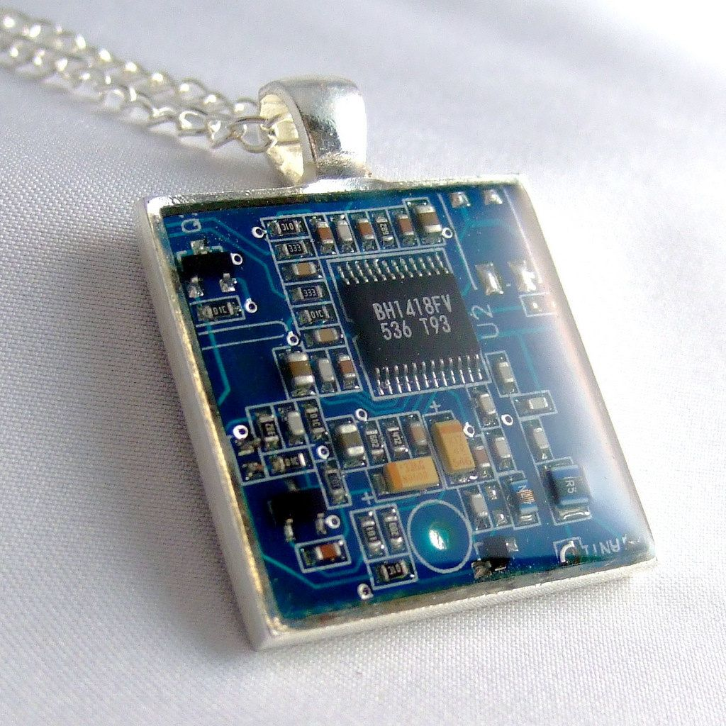 Computer Chip Circuit Board Necklace Blue Square By Techcycled Recycled Clipboard Green Geekery Debbyaremdesigns