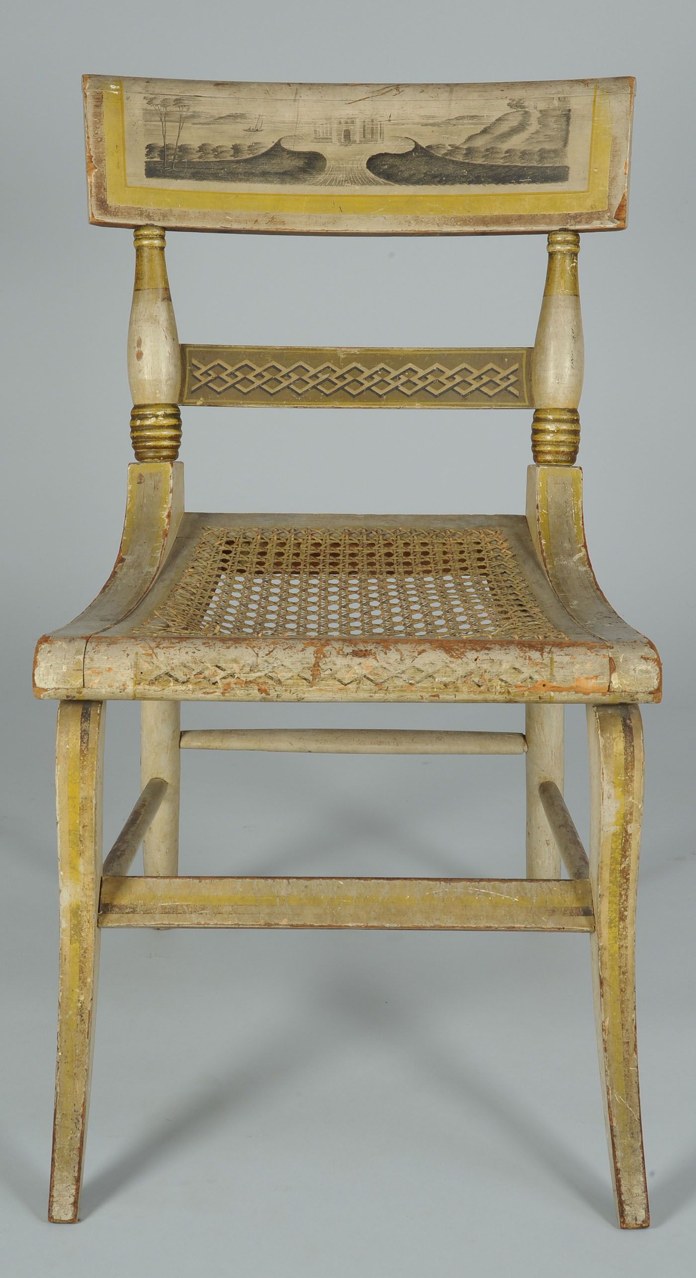 American Federal Paint-Decorated Fancy Side Chair - Baltimore Style, but  Attributed to New York or New England - Circa 1820. - American Federal Paint-Decorated Fancy Side Chair - Baltimore Style