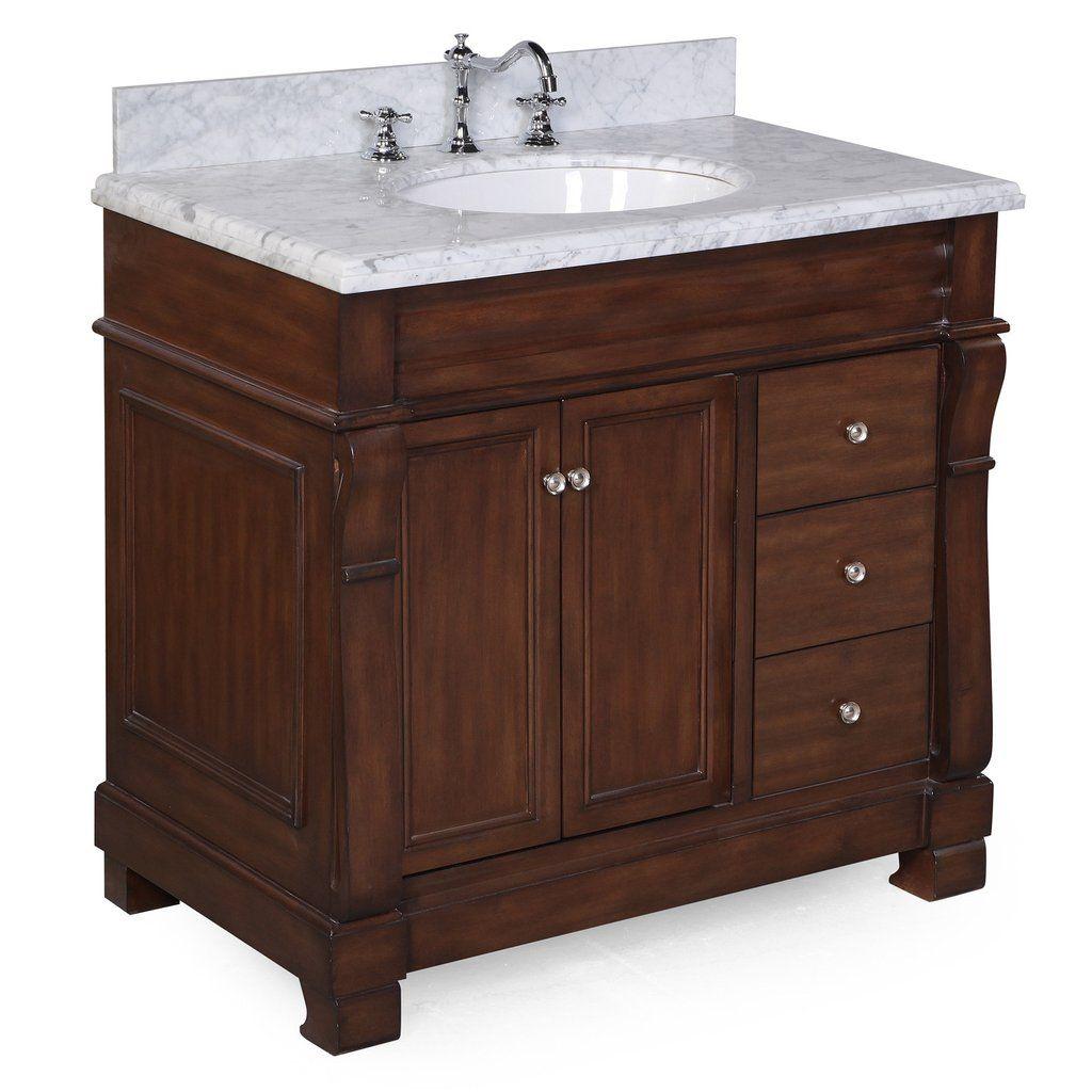 Westminster 36-inch Vanity (Carrara/Brown) | Brown ...