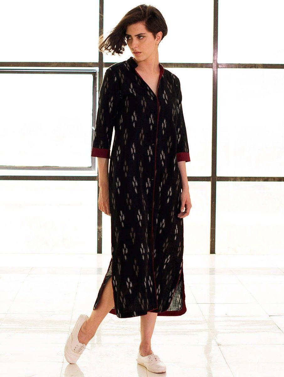 c643e2b1c3 Buy Black Button Down Ikat Handloom Cotton Dress Apparel Tops & Dresses  Online at Jaypore.com