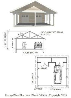 Image result for garage with carport plan | Garage | Pinterest ...