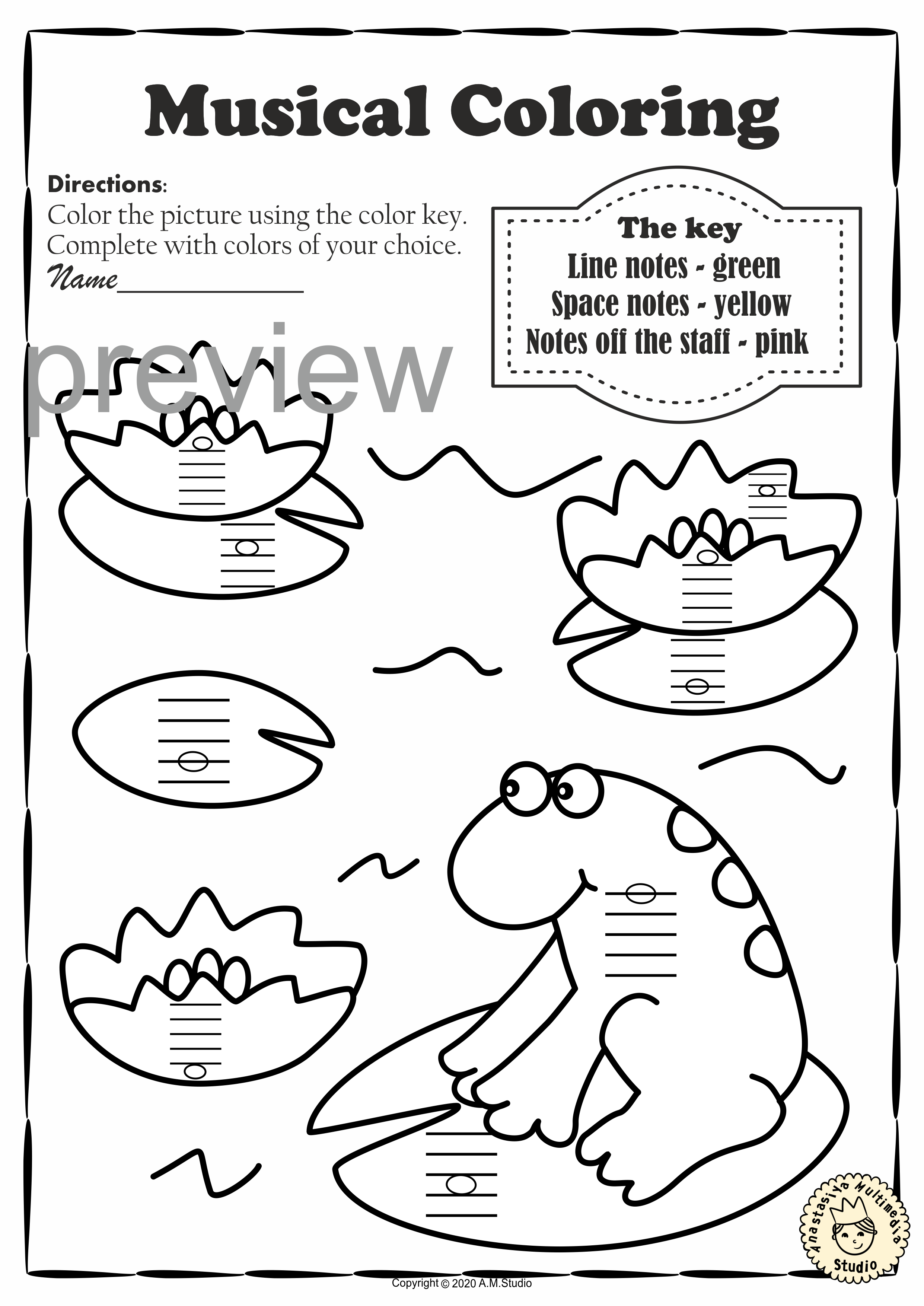 Musical Coloring Pages For Summer Color By Lines And