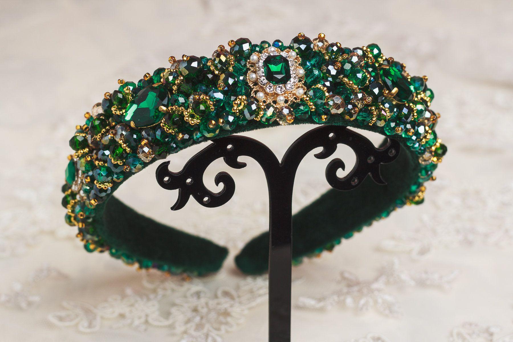 Emerald jewelled headband Pink  green gold Wedding hair accessories Crystal tiara Embellished Baroque dolce headband Green beaded headband