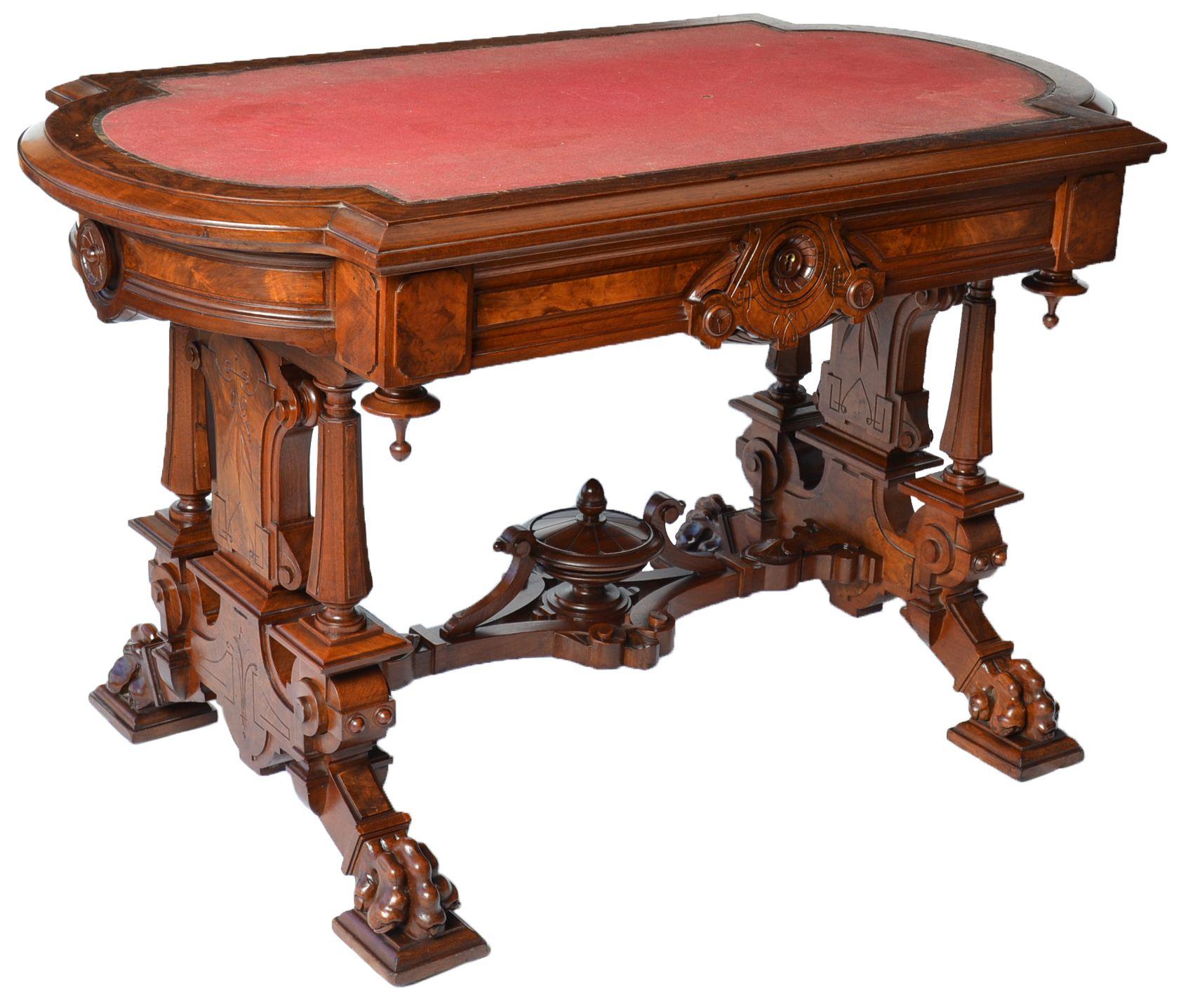Renaissance Revival Library Table Nozhki Stolov Mebel Interer