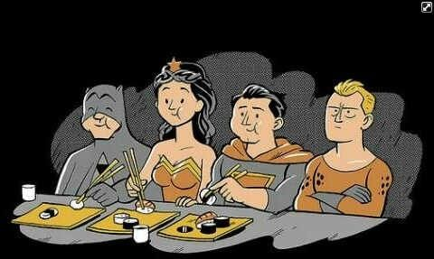 Even superheroes eat sushi :D