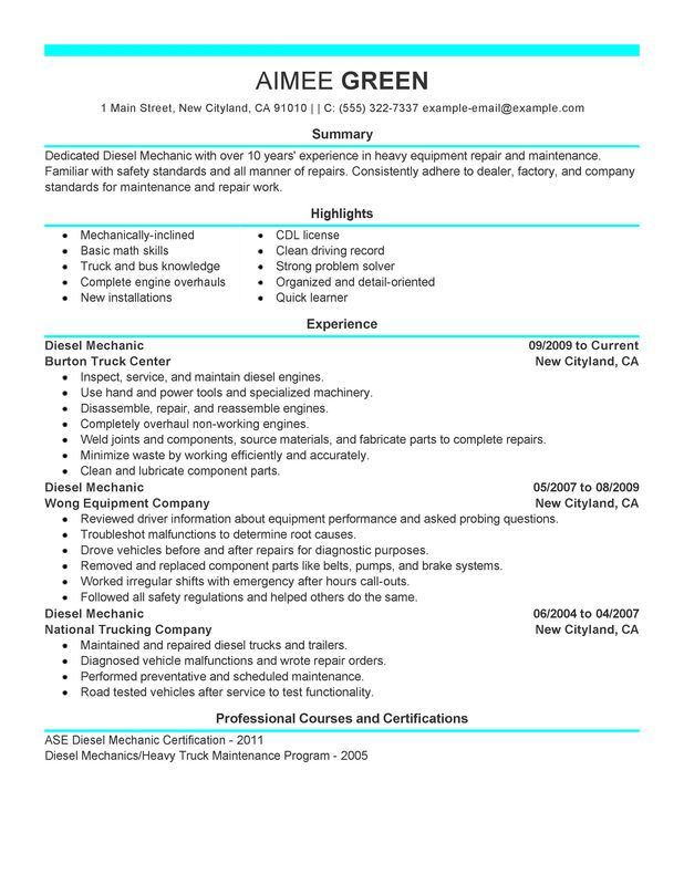 Diesel Mechanic Resume Sample Perfect Examples Resumes Entry Level Good Resume Examples Professional Resume Examples Resume Examples