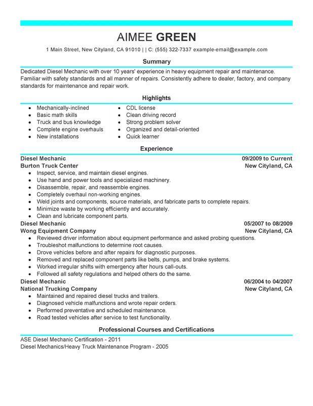 Resume Examples Diesel Mechanic Resume Examples Resume examples