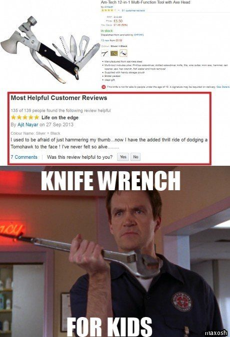 I immediately thought of this... ''Knife wrench; practical and safe!''