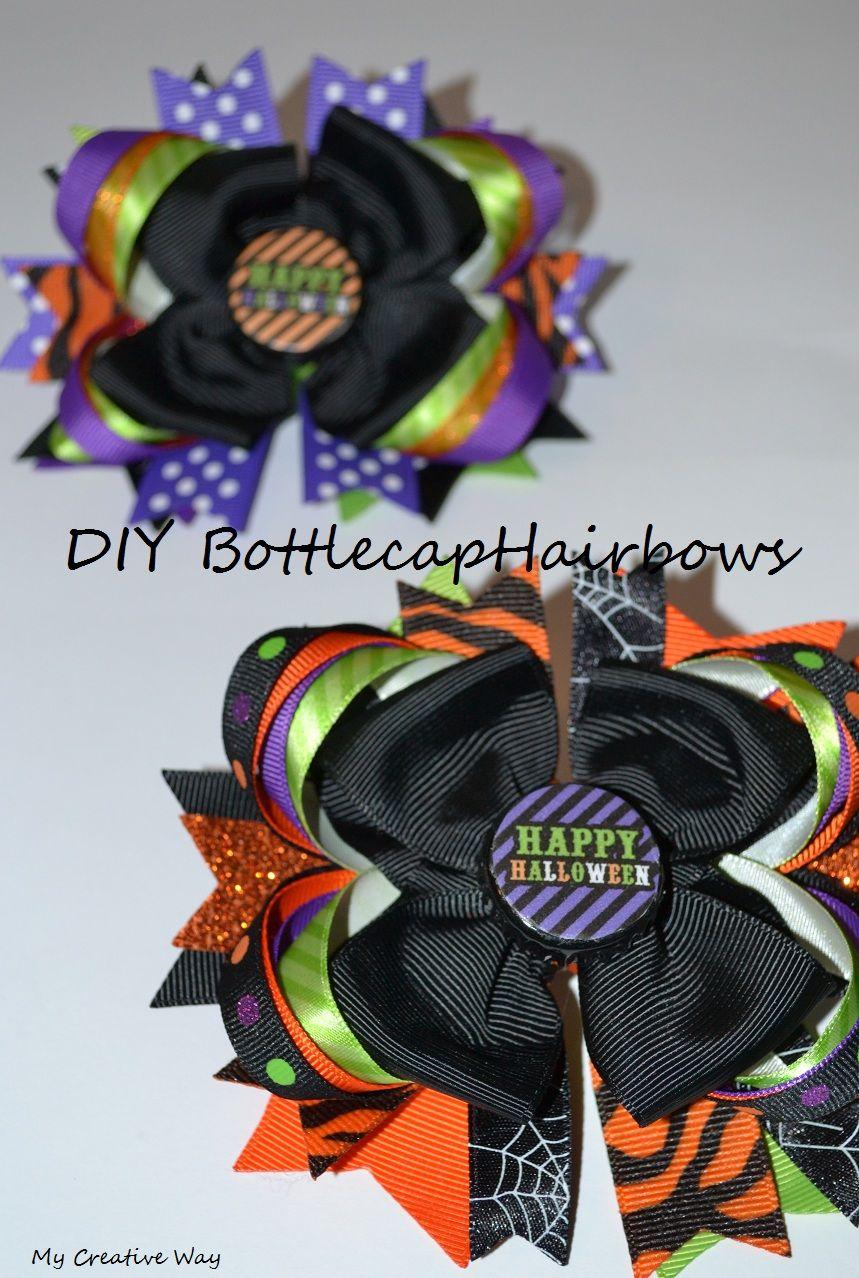 Diy Halloween Bottle Cap Bow Centers Diy Halloween Bottles Halloween Bottles Halloween Hair Bows