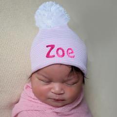 b244baf11c7 Personalized Candy Stripe Pink and White Nursery Hospital Hat with White  Pom Pom icon