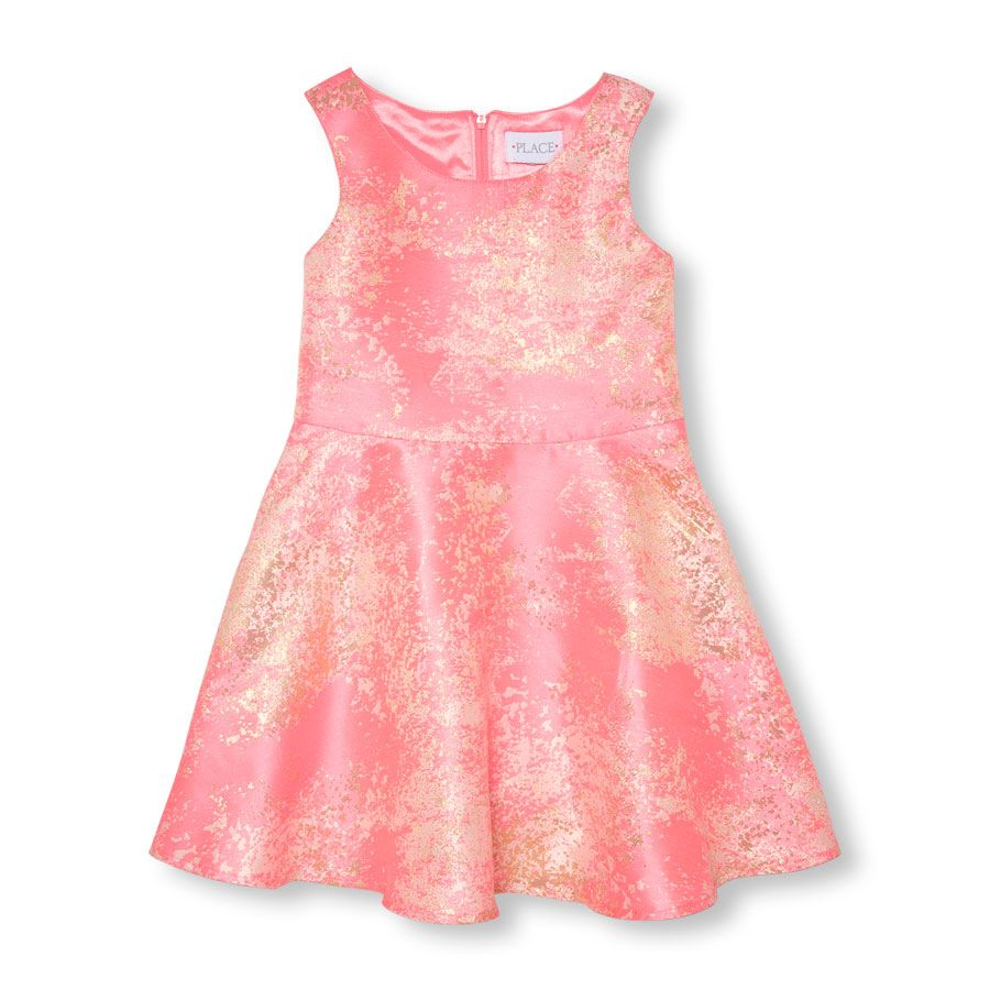 Girls Sleeveless Metallic Printed Jacquard Dress | DYT Type 1 Size ...
