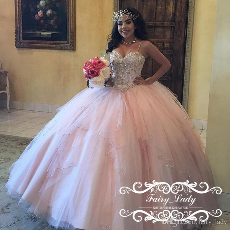 Stunning Puffy Ball Gown Light Pink Quinceanera Dresses With ...