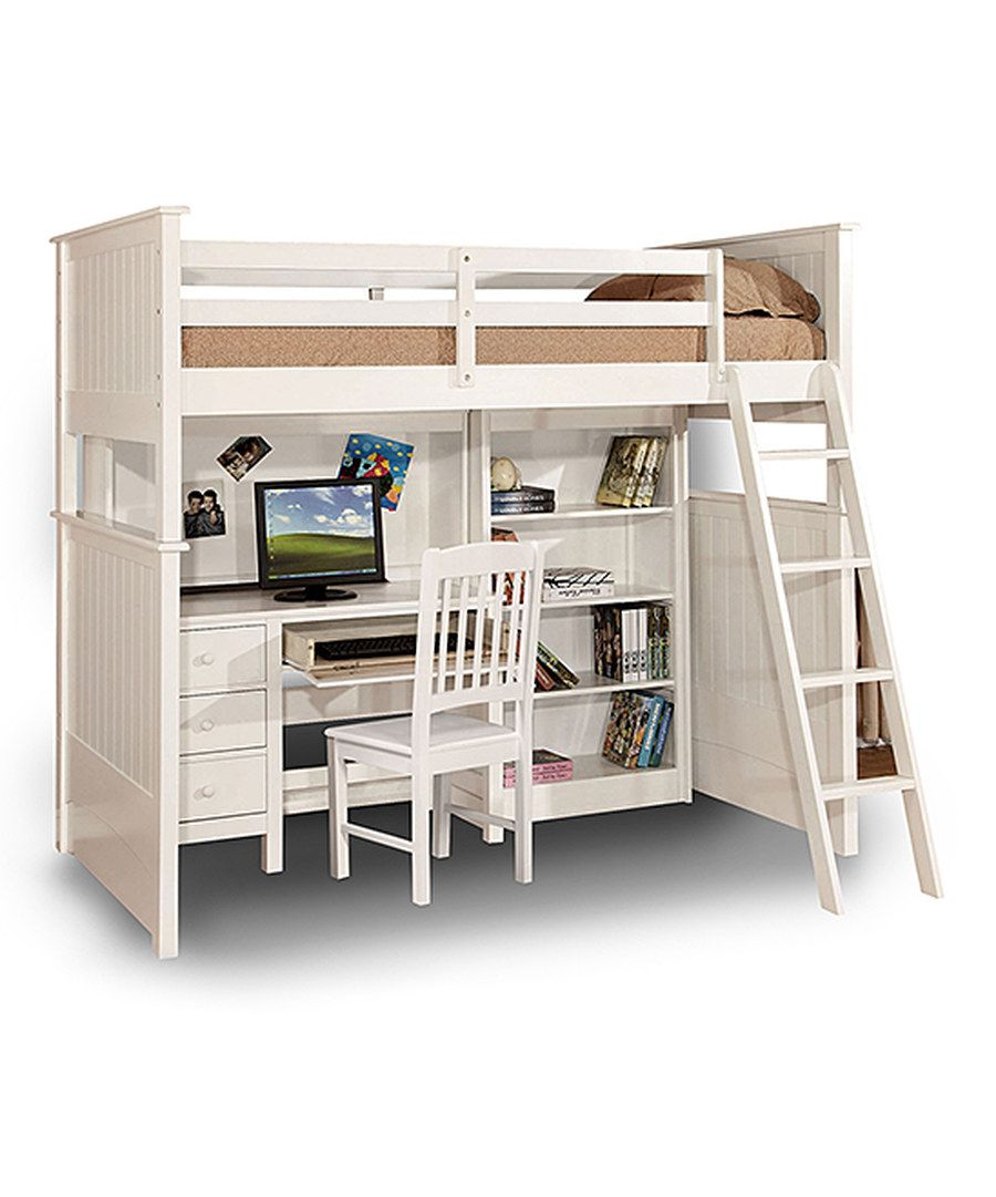 Loft bed with desk full size  Look at this White Loft Bunk Bed on zulily today  For the Home
