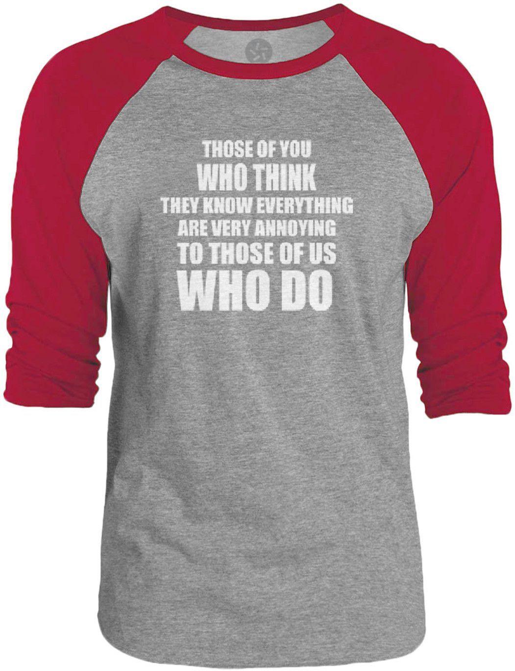 Big Texas Know It All (White) 3/4-Sleeve Raglan Baseball T-Shirt