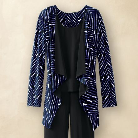 Plus Size Voyager Knit Reversible Drape-Front Jacket