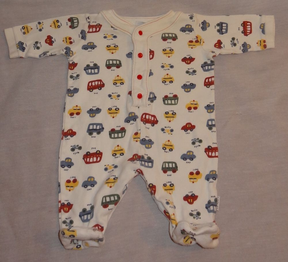 Baby Boy 3 Months Cars Bus Footed Sleepware One Piece 100% Cotton - Stained #LittleMe #OnePiece