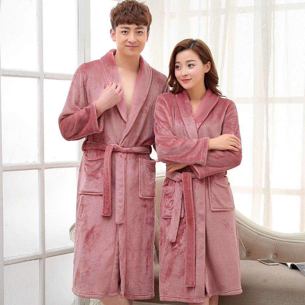 Compare Price Ladies and Men Long Bathrobe Women Silk Flannel Kimono ...