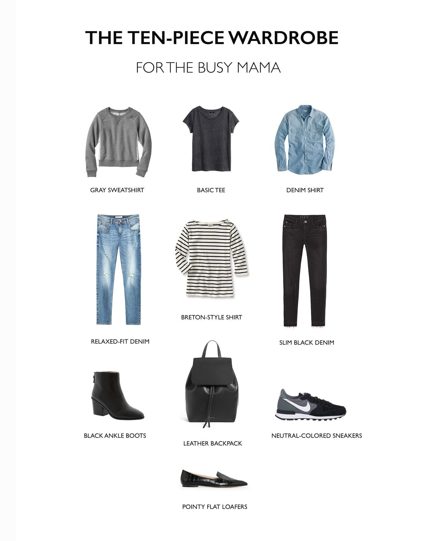 The Ten Piece Wardrobe For The Busy Mama Capsule Wardrobe Mom 10 Piece Wardrobe Fashion