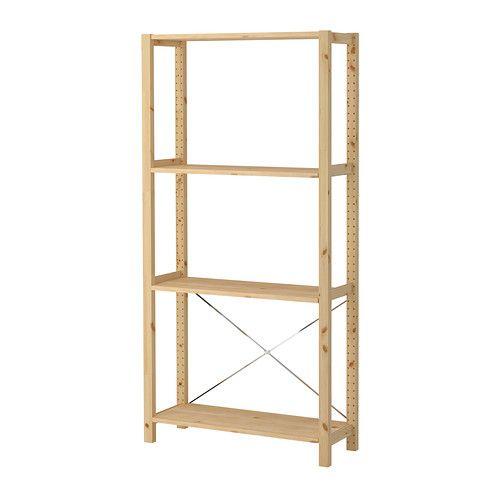 IKEA - IVAR, Hyllykokonaisuus, Käsittelemätön massiivipuu on kestävää luonnonmateriaalia. Öljyäminen tai vahaaminen tekee tuotteesta vielä kestävämmän ja helppohoitoisemman.Yksinkertainen kokonaisuus sopii pieneen tilaan, ja sitä on helppo kasvattaa tarpeen mukaan.Siirrettävien hyllylevyjen ansiosta hyllyvälejä on helppo säätää tarpeen mukaan.