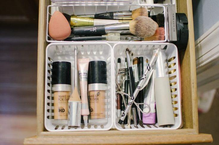 Dollar Store Makeup Drawer Organization DIY images