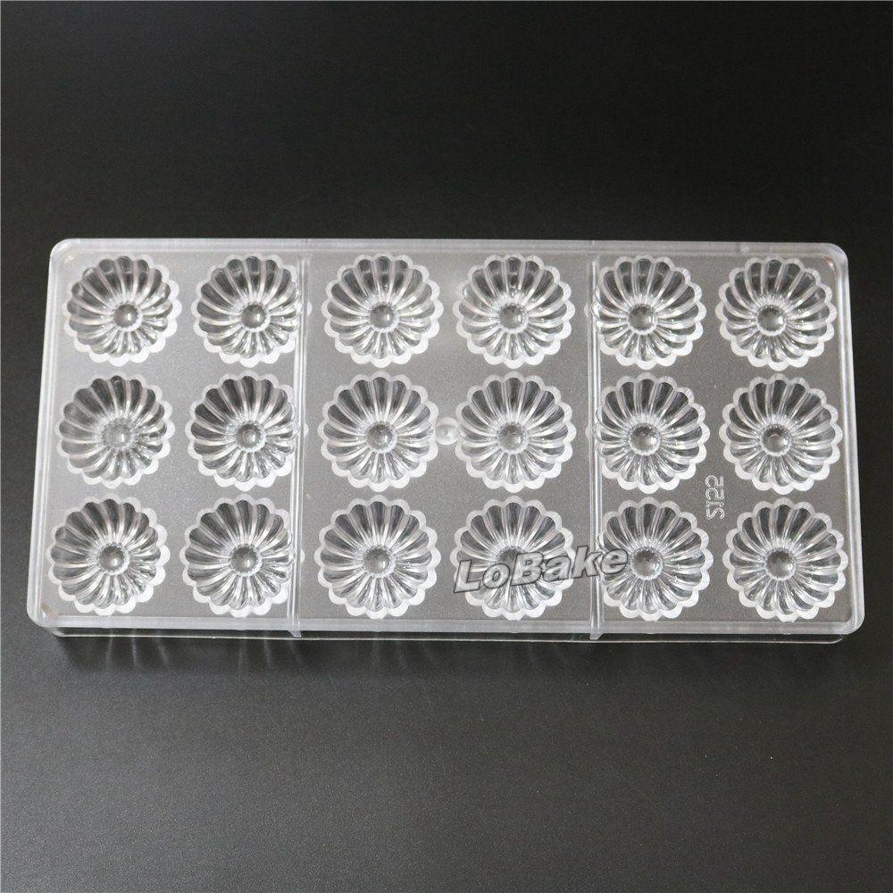 18 Cavities Round Fun Flower Shape Pc Polycarbonate Plastic Candy