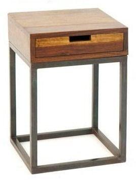 Mesa de luz madera y hierro habitacion en 2019 muebles for Muebles de diseno industrial