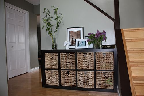 Genius Idea Ikea Expedit Shelves With Baskets For Storage: Idea For Downstairs' Play Area To Hide Toys When Not In
