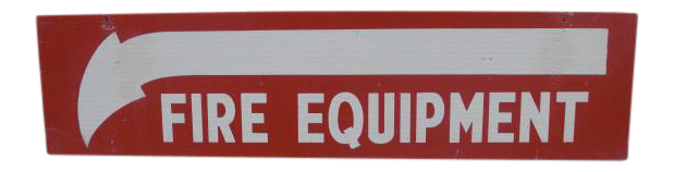 Salvaged Painted Double Sided Fire Equipment Sign Fire Equipment Salvage Painting On Wood
