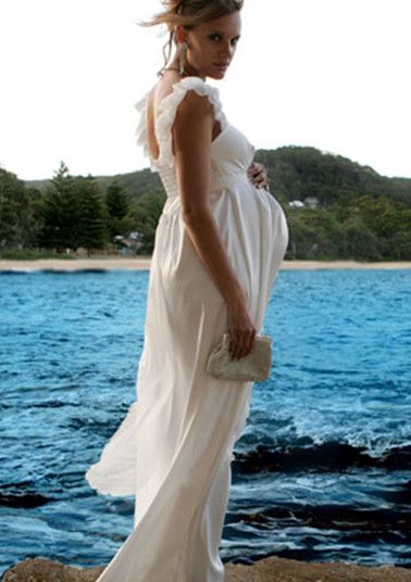 affordable long maternity wedding dress with handmade flowers ...