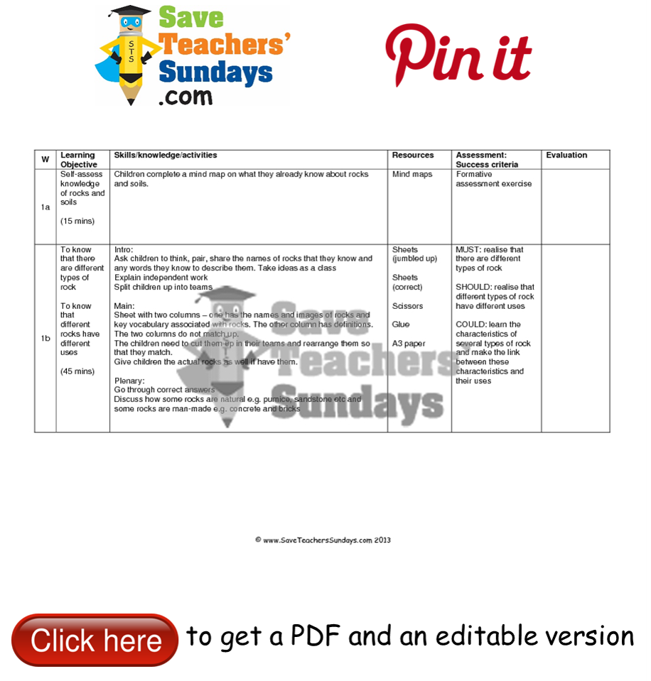 Worksheets Types Of Rocks Worksheet types of rocks lesson plan go to httpwww saveteacherssundays com saveteacherssundays