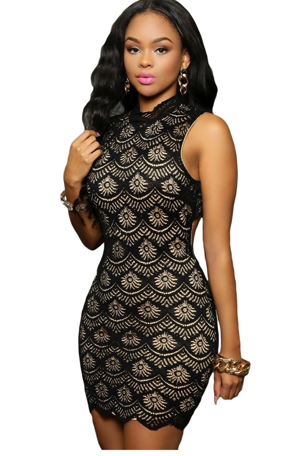 9c4a1e9706612 New Women Bodycon Dress Summer Sexy Black Lace Nude Illusion Keyhole Back  Mini Dress Sexy Club Wear
