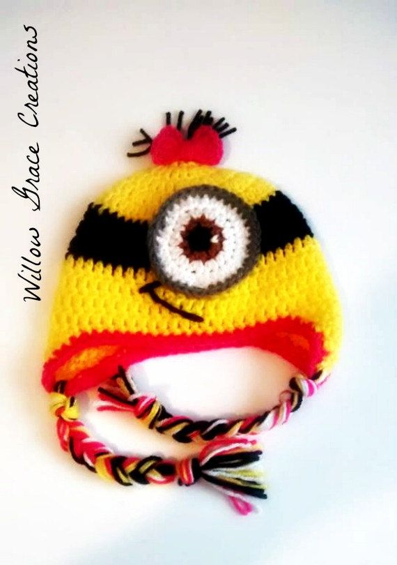 Hey, I found this really awesome Etsy listing at https://www.etsy.com/listing/205232481/crochet-minion-hat-made-to-order