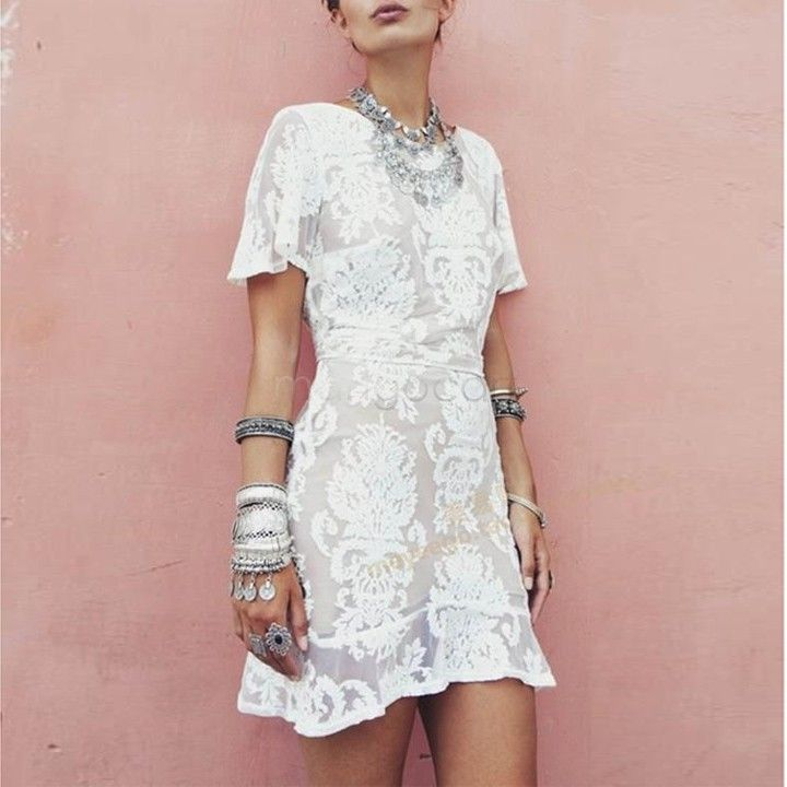 2014 Women Dress Summer Sexy Short Sleeve Lace Crochet Embroidered ...