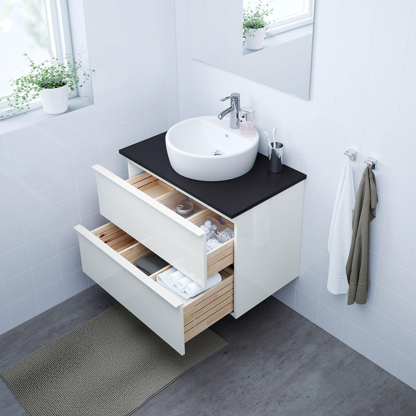 Godmorgon Tolken Tornviken Cabinet Countertop 19 5 8 Sink High Gloss White Anthracite Dalskar Faucet 32 1 4x19 1 4x29 1 8 Ikea In 2020 Ikea Bathroom Bathroom Vanity Tops White Vanity Bathroom
