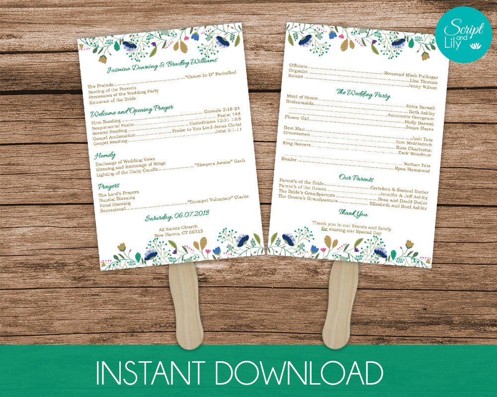 Floral Paddle Fan Wedding Program Template Double Sided Instant