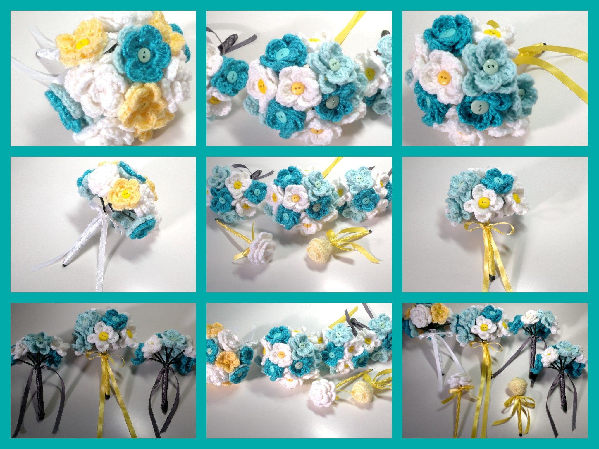crocheted wedding bouquets