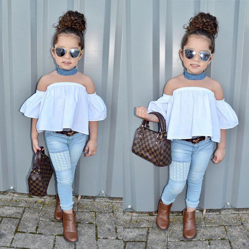 5302c68d50db Toddler Kids Baby Girl Off Shoulder Top Denim Pants Jeans Outfits ...