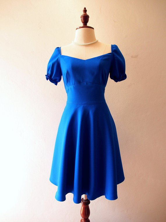 d673e5ac85f Swing Dance Dress Royal Blue Dress Sundress - Happily Ever After - Snow  White Dress Puff Sleeve Dres
