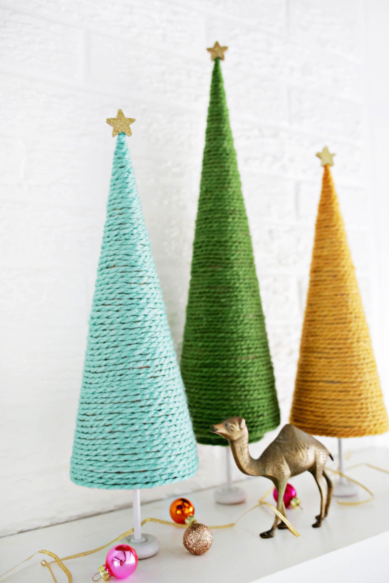 Yarn Christmas Tree Diy A Beautiful Mess Christmas Tree Yarn Diy Christmas Tree Mini Christmas Tree Diy