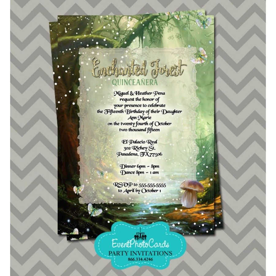 2bed4776f8e Enchanted Forest Quinceanera Invitations in 2019