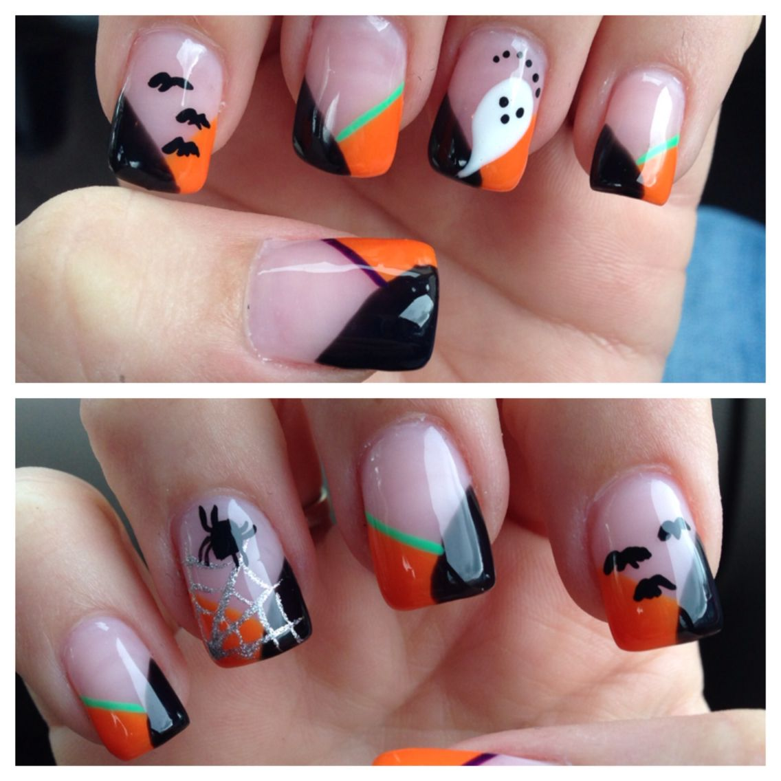 Halloween-Nägel. Nagel Kunst. Oktober Nägel. Geist. Fledermäuse. Spinne. Orange Schwarzgr …   – Nail & Make Up Ideas
