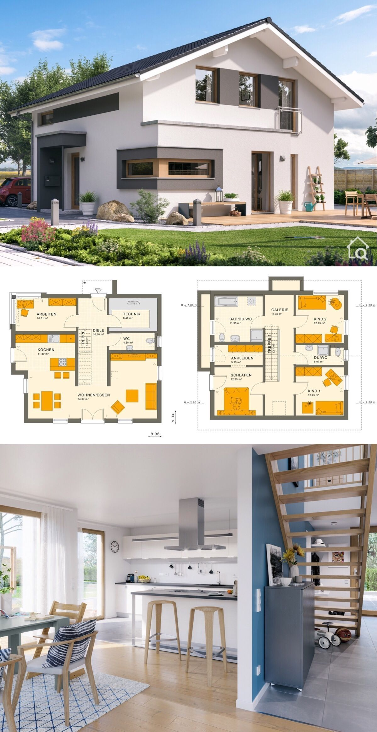 Einfamilienhaus Neubau Modern Two Floor House Plans With 4 Bedroom Modern Contemporary European Style Architecture Design Sunshine 154 V5 - Dream Homes With Open Concept And Gallery Layout B… | Einfamilienhaus, Haus Design, Bauhausstil Haus