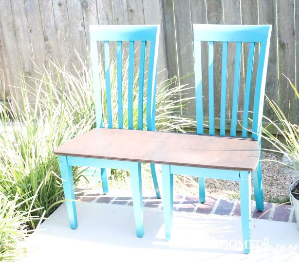 Lovely Dumpster Dive Garden Bench Made From Chairs   Well Groomed Home   This, But  With A Cushioned Seat!