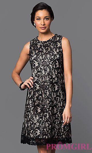 Short Lace Shift Dress at PromGirl.com