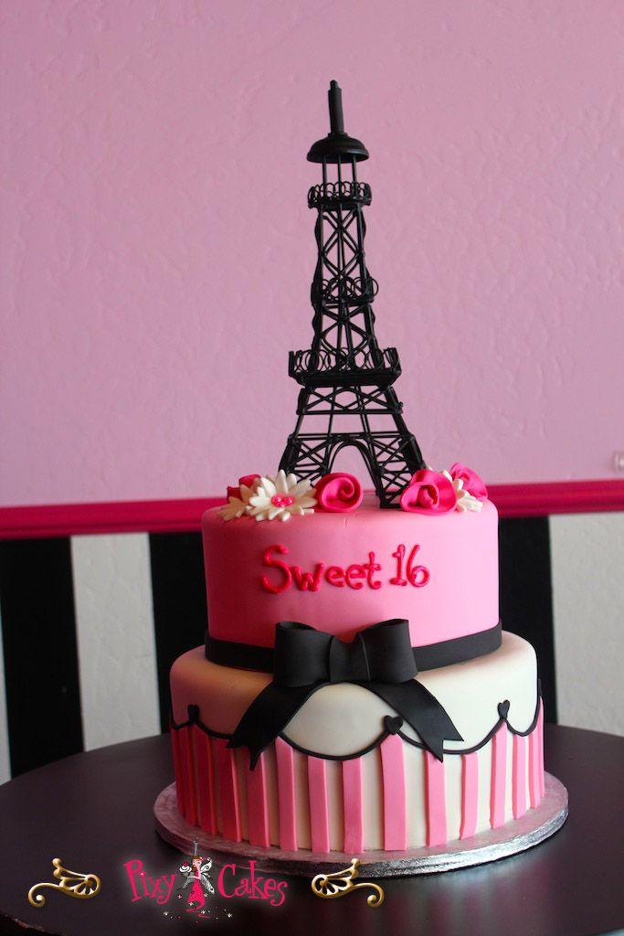 Birthday Cake Zebra Eiffel Tower birthday cake girl pink sweet