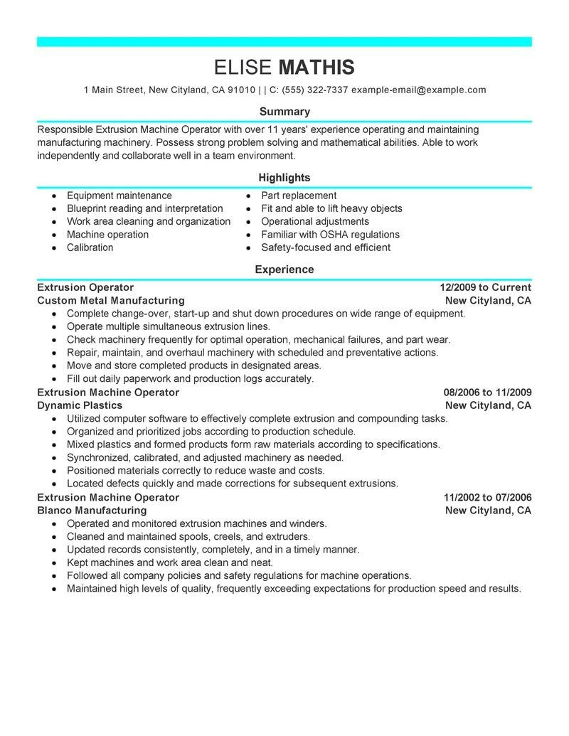 Warehouse Forklift Operator Resume Sample | diy resume | Pinterest
