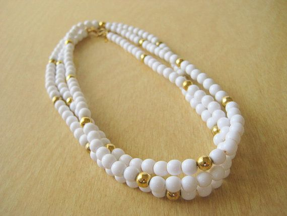 Trifari  White and Gold Bead Necklaces Set of Two by VintageRenude