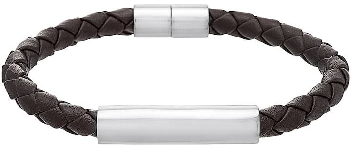 1913 Men S Stainless Steel Braided Brown Leather Bracelet Brown Leather Bracelet Leather Bracelet Brown Leather