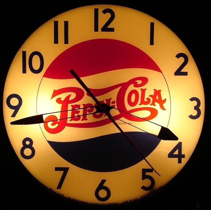 40 S Vintage Pepsi Cola Clock Retro Clocks Pinterest