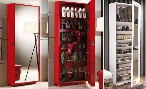 Zapatera con espejo armoire muebles para guardar - Armarios para zapatos ...